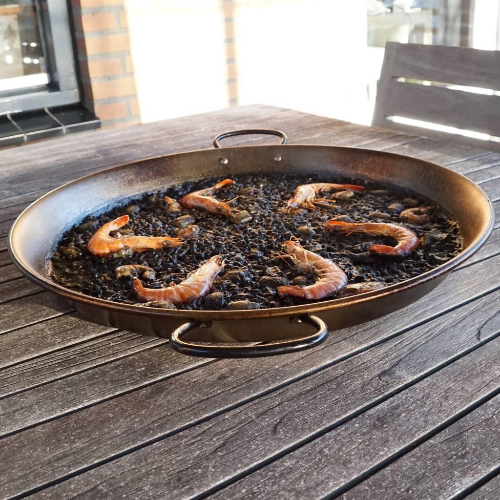 Paella pan staal met zwarte paella