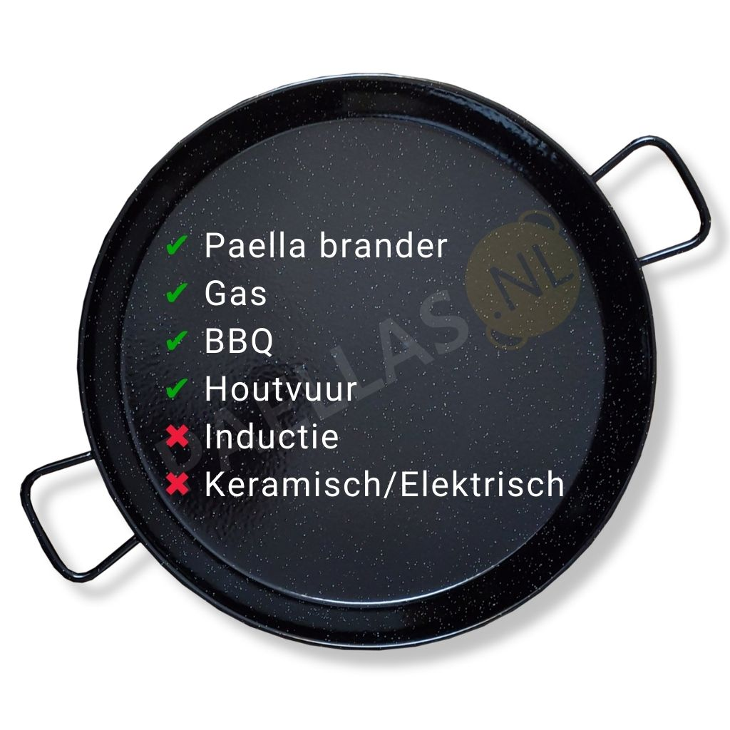 Paella pan emaille warmtebronnen