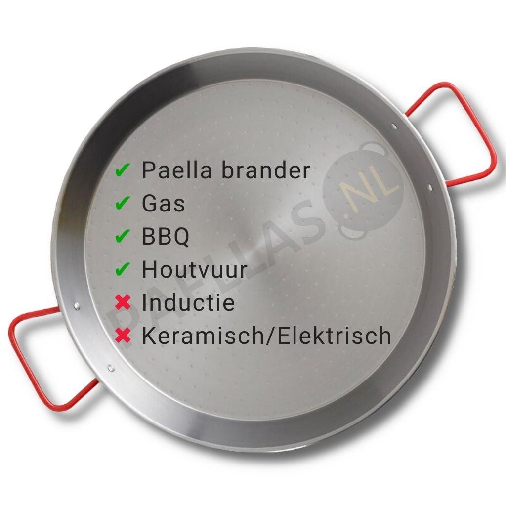 Paella pan staal warmtebronnen
